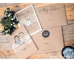 Vintage/Rustic lace wedding invitation with twine