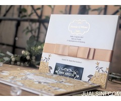 Wedding invitation card with gold and broken white