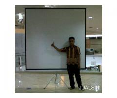 "jual tripod screen projector 96""(244cm x 244cm)"