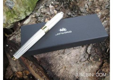 Pulpen Mewah Jinhao JH1200 Canetas Silver Pen Gold Clip With Box