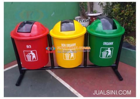 Tempat Sampah Fiberglass Volume 50 liter Gandeng Tiga