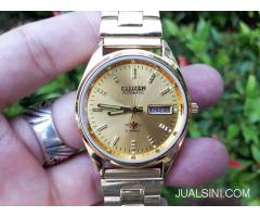 Jam Antik Citizen Automatic 8200A Japan Gold Plate CTZ001 Vintage