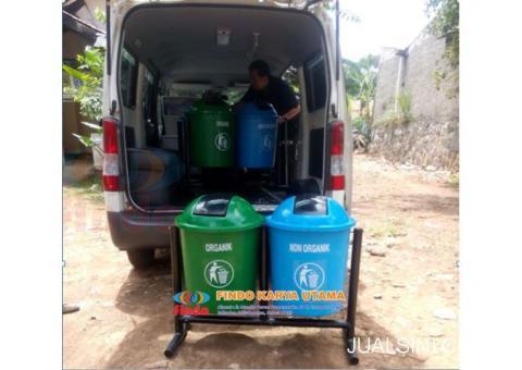 Tempat Sampah Gandeng Bulat Dua Pilah
