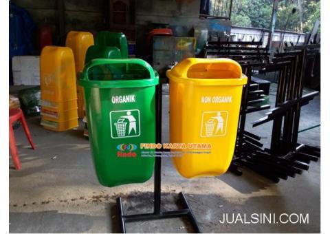 Pusat Tempat Sampah Oval Dua Warna