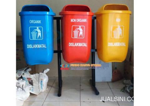 Pusat Tempat Sampah Outdor Oval Gandeng Tiga Warna