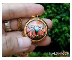 Jam Saku Unik Spiderman P1053 Mini Quartz With Necklace Chain
