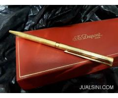 Pulpen Mewah S.T. Dupont Seri 5D4NF56 18k Gold Plated Original Red Box