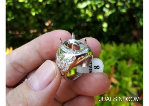 Ring Perak Hongkong 925 Kombinasi Zircon Mewah PRK044 Murah Terjangkau